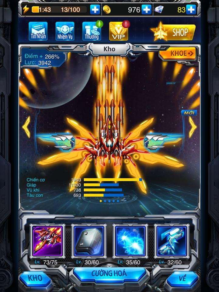 Hình ảnh chiến cơ mạnh mẽ trong gamee Chiến Cơ Huyền Thoại
