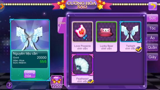 Nâng cấp cánh nạp lần đầu trong game Super Dancer VN