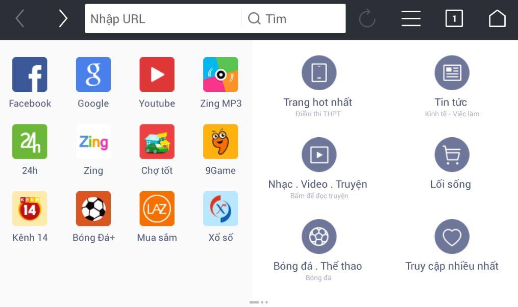 Giao diện chính đa dạng các trang web tiện ích, giải trí của tải UC Browser