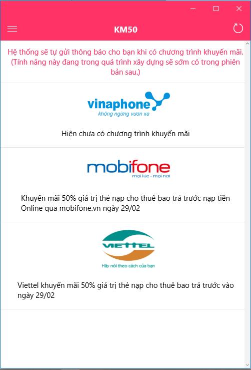 Thông tin khuyến mãi Viettel Vina và Mobiphone