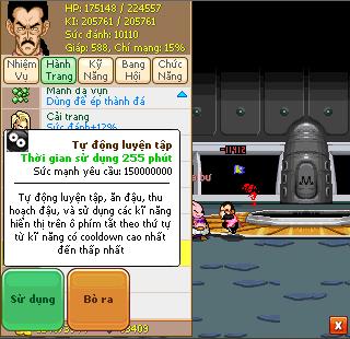 Tự động luyện tập tính năng mới trong phiên bản 103 của Ngọc Rồng Online