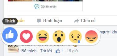Các nút biểu tượng cảm xúc 2016 mới của Facebook
