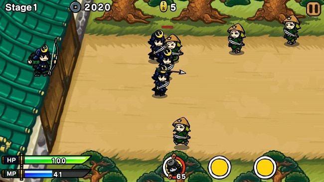 Lúc này bạn thả tay ra thì samurai sẽ xuất hiện hỗ trợ bạn đánh địch: