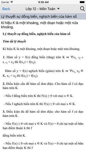 Một bài lý thuyết môn toán lớp 12 trong ứng dụng Lời giải hay