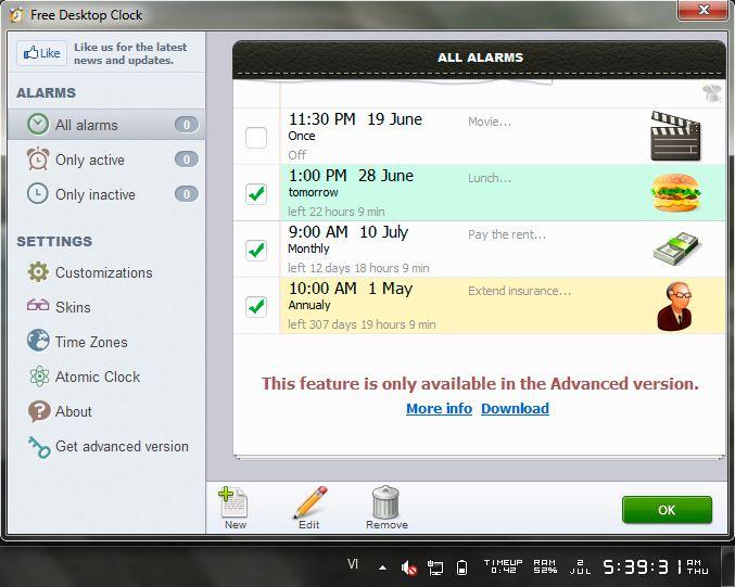 Free Desktop Clock cho phép bạn viết ghi chú lên lịch công việc