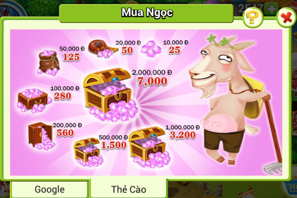 Nạp Ngọc vào game Nông Trại Việt bằng thẻ cào