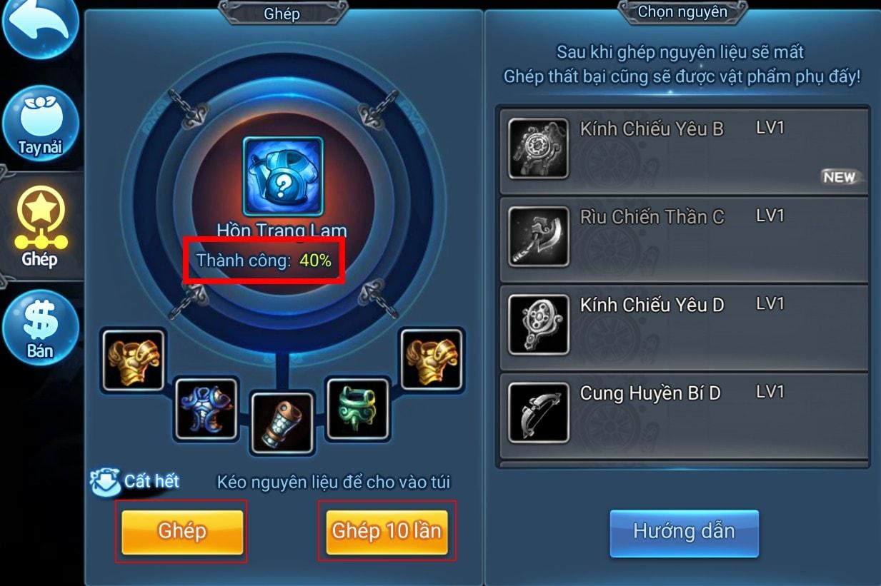 Lên cấp Hồn Trang trong game Thiên Hạ Garena