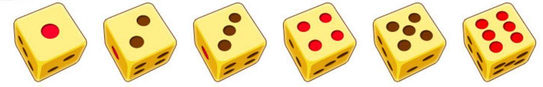 Các nút xúc xắc tương ứng với số lần đi