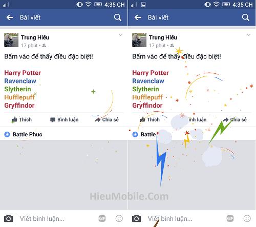 Hình ảnh HA9ugme của Facebook mở hiệu ứng phép thuật mừng sinh nhật bộ sách Harry Potter tại HieuMobile