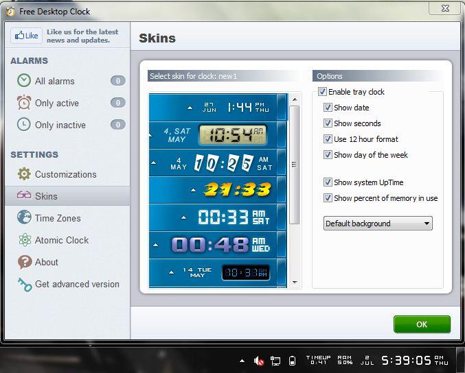 Free Desktop Clock thay đổi giao diện đồng hồ của bạn