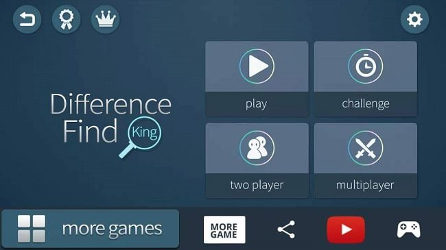 Giao diện của game Difference Find King khi mở ra