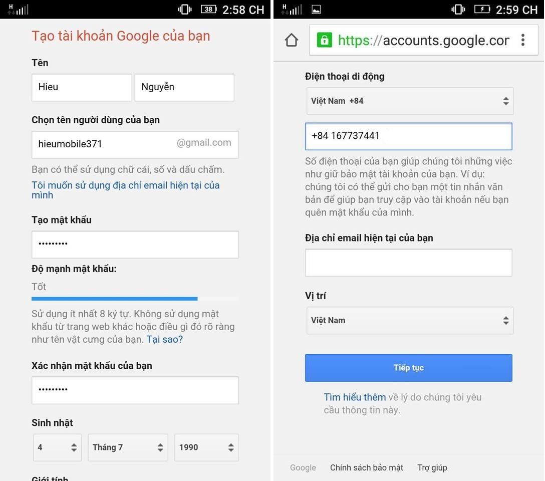 Hình ảnh trong Hướng dẫn tạo tài khoản Google để tải game, gửi mail... tại HieuMobile