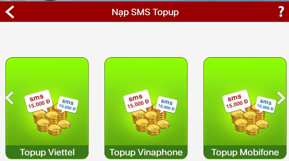 Nạp game iWin bằng cú pháp TOPUP SMS