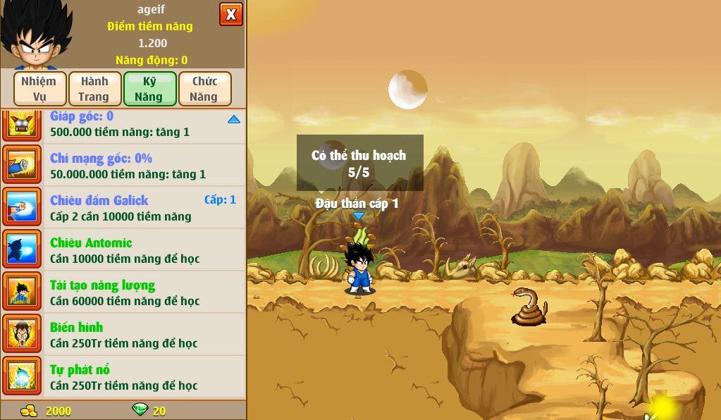 Hệ thống kỹ năng của Ngọc Rồng Online