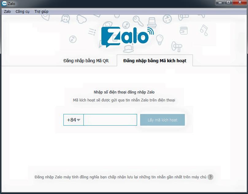 Đăng nhập Zalo bằng mã kích hoạt