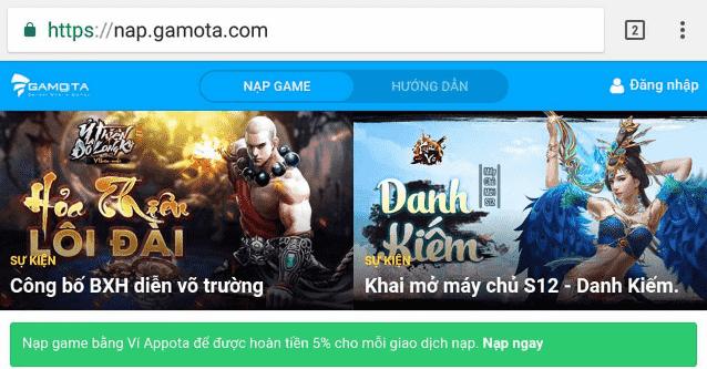 Hình ảnh PxumctV của Gamota ra mắt cổng nạp thanh toán game trên website tiện lợi tại HieuMobile