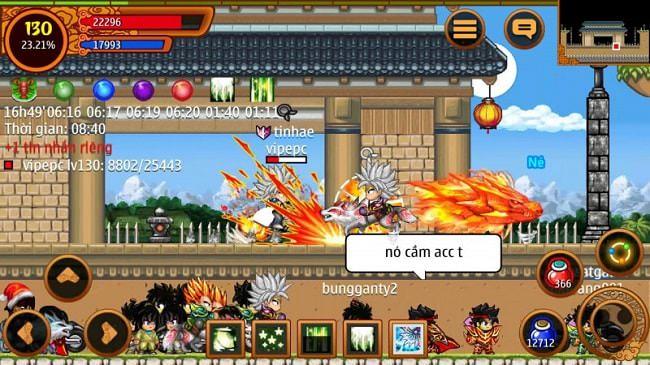 Một trận đấu đang diễn ra trong Lôi đài của game Ninja  School Online