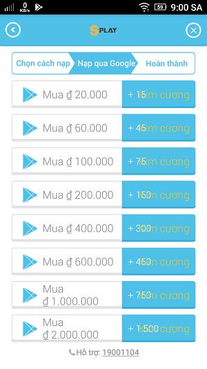 Bảng giá khi nạp  trực tiếp trong game hoàn toàn đắt hơn