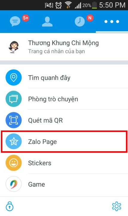 Tìm kiếm bằng công cụ Zalo Page