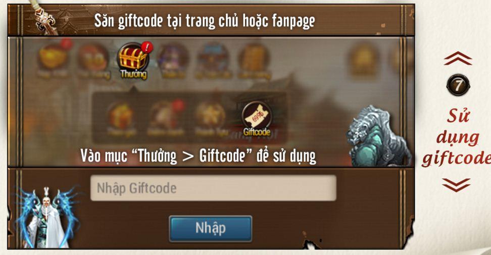 Cách sử dụng giftcode code Tình Võ Lâm