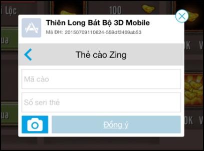 Hướng dẫn nạp Kim Nguyên Bảo của game Thiên Long Bát Bộ 3D