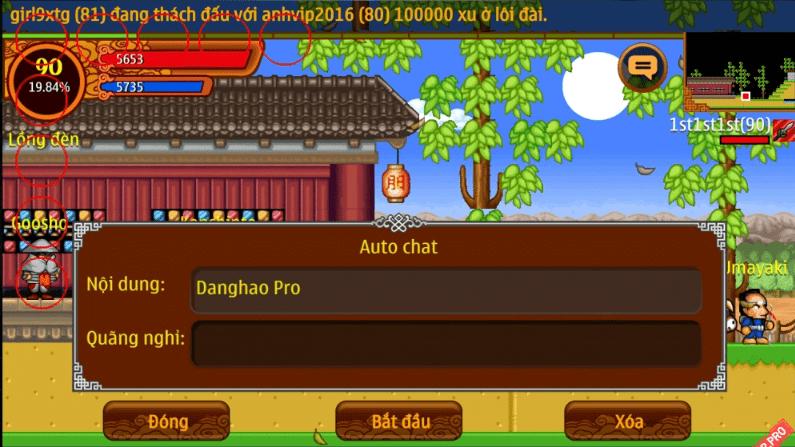 Hình ảnh của Ninja School sẽ khóa nick người chơi dùng Auto Chat tại HieuMobile