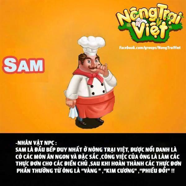 Đầu bếp SAM - là NPC của Nông Trại Việt