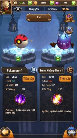 Hệ thống pet trong game Bí Kíp Luyện Rồng 3D Mobile