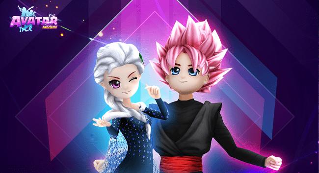 Hình ảnh set Nữ Hoàng Elsa và Black Goku có trong VIP 7 của Avatar Musik