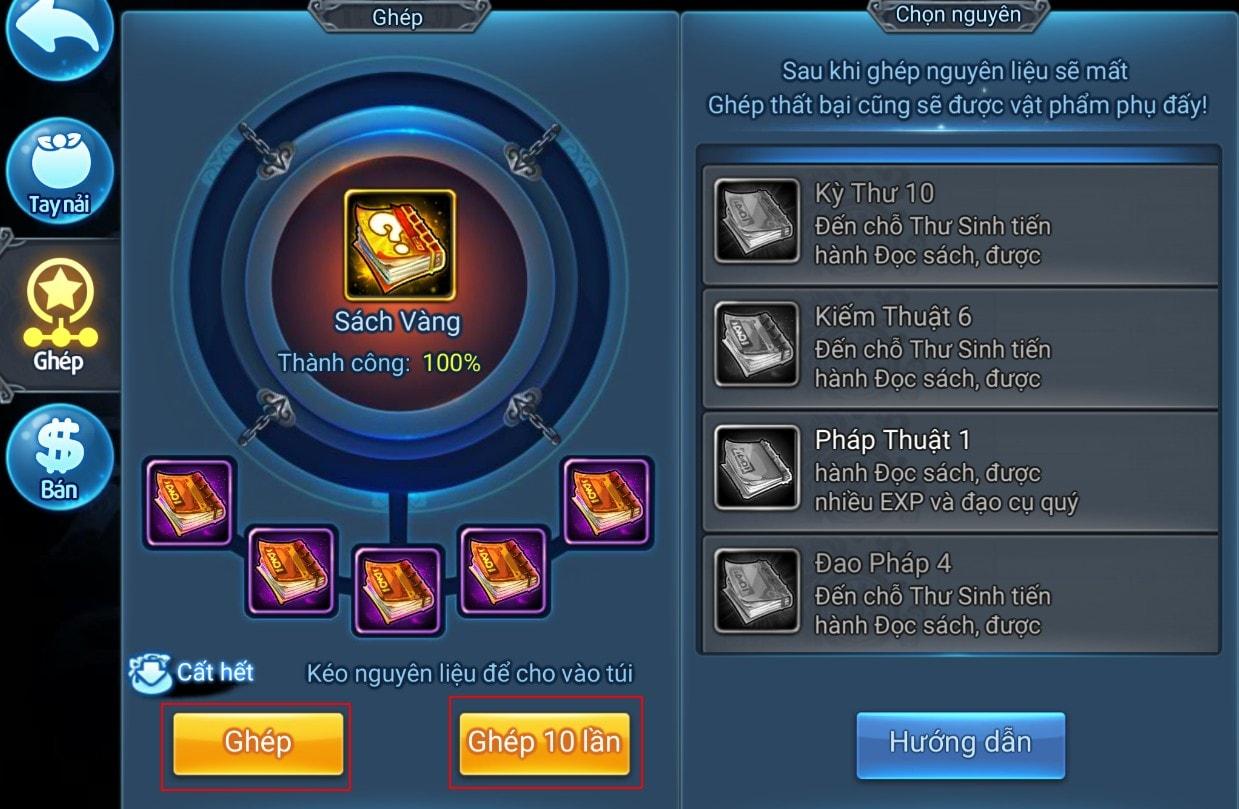 Tăng Phẩm Sách trong game Thiên Hạ Garena