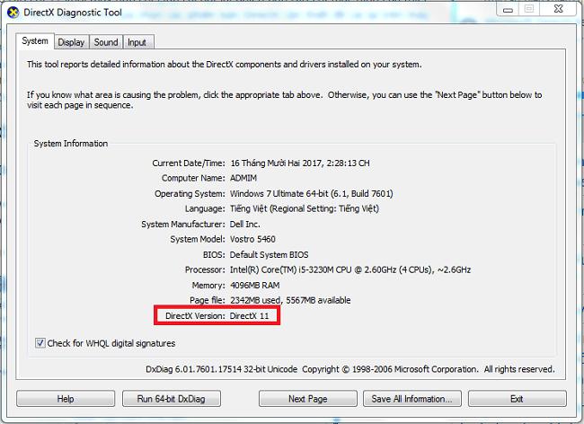 Hình ảnh bWK5nEm 1 của Cách xem phiên bản, gỡ bỏ và cài đặt DirectX mới nhất cho máy tính tại HieuMobile