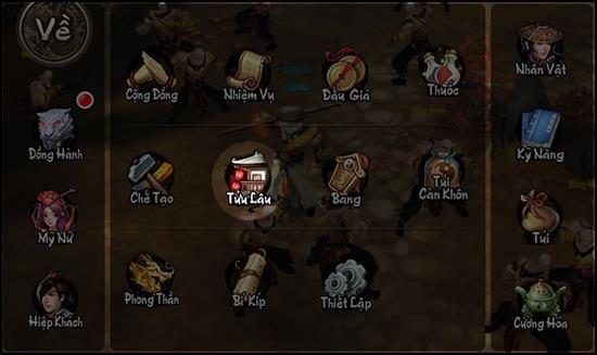 Mở Tửu Lầu từ giao diện nhân vật trong Thiên Long Bát Bộ 3D