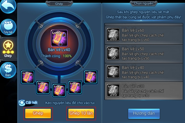 Lên cấp Bản Vẽ trong game Thiên Hạ Garena