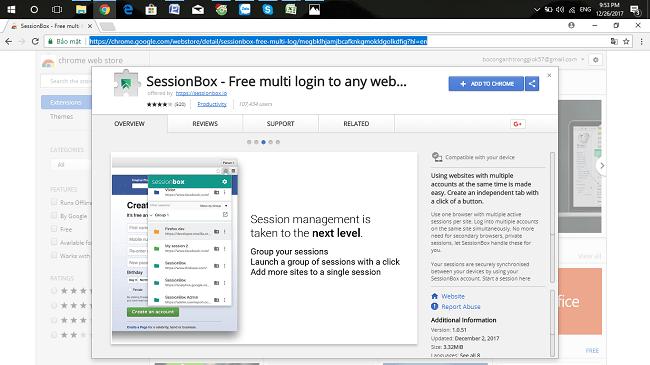Giao diện cài đặt SessionBox - bấm Add To Chrome bắt đầu tải về