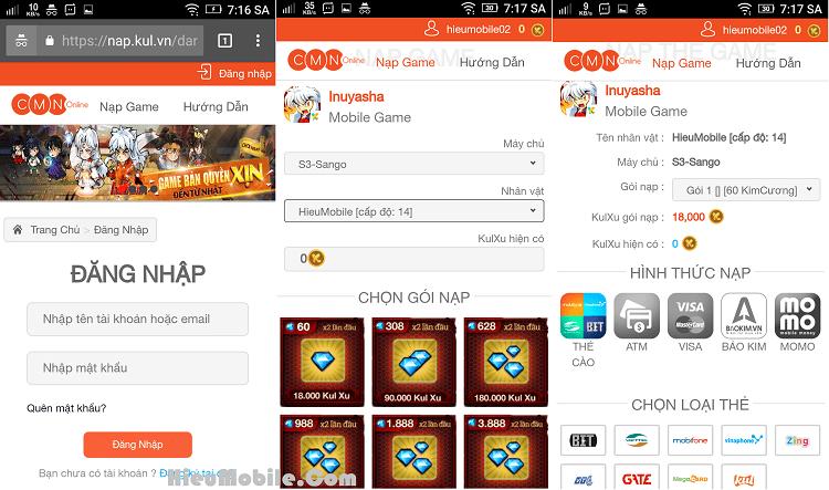 Hình ảnh fq0MHfY của Hướng dẫn nạp thẻ và bảng giá Kim Cương trong game Inuyasha tại HieuMobile