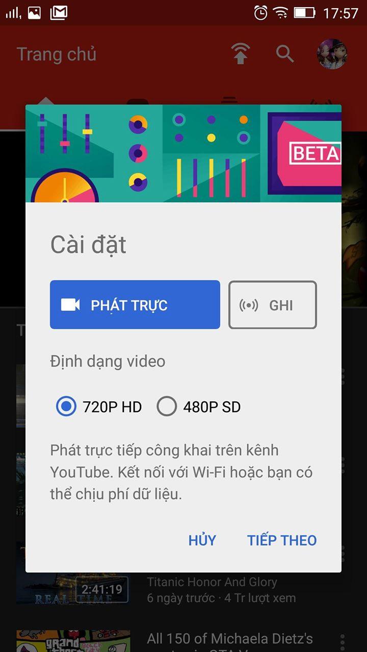 Quay video livestream youtube bang dien thoai