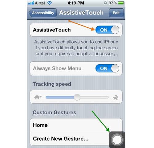 Các bước để tiến hành bật phím home ảo trên thiết bị IPhone