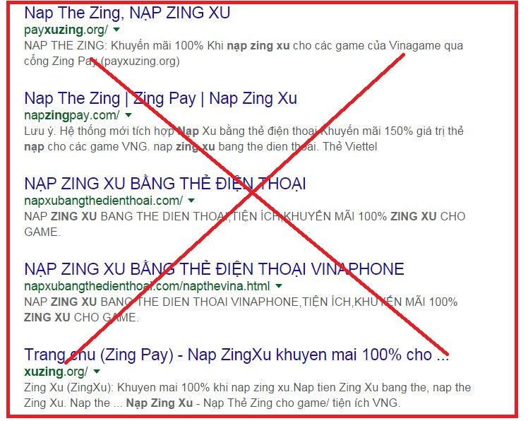 Những trang web nạp thẻ Zing Xu lừa đảo với các lời lẽ cám dỗ