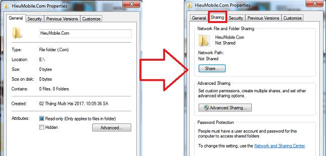Nút Sharing của thư mục HieuMobile.Com bị thiếu và đã được thêm thành công ở hình bên phải.