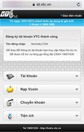 Nhấn đăng ký để hoàn tất quá trình đăng ký VTC ID