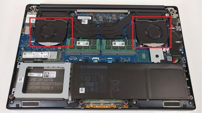 Vị trí của 2 quạt tản nhiệt có trong một loại laptop