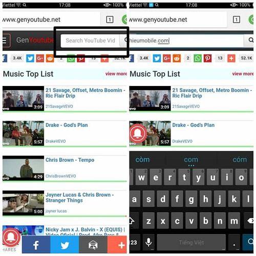 Nhập tên video vào khung tìm kiếm