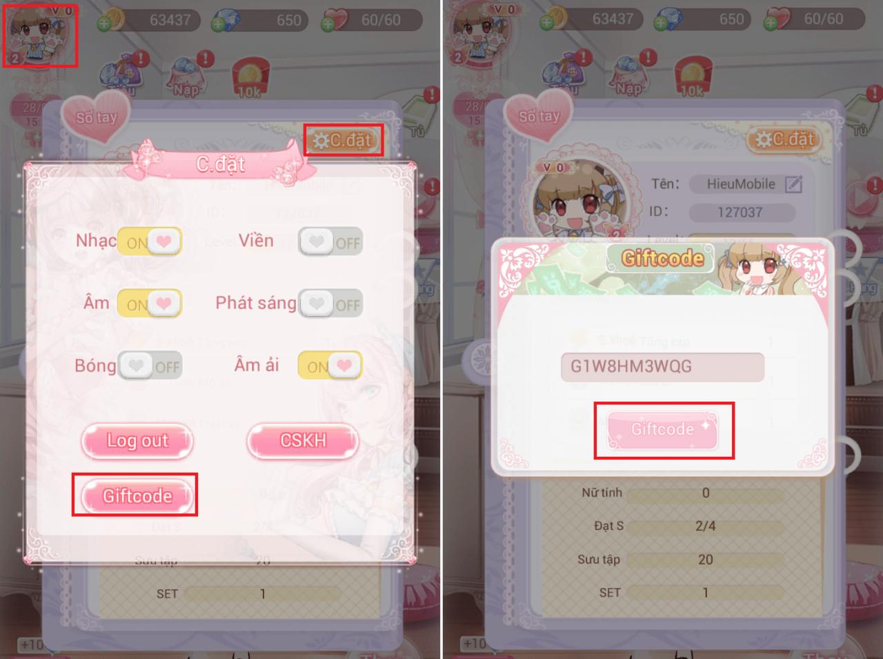 Hình ảnh ivq7sNB của Hướng dẫn sử dụng giftcode game thời trang Alice chi tiết nhất tại HieuMobile