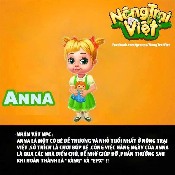 Cô bé ANNA - là NPC của Nông Trại Việt