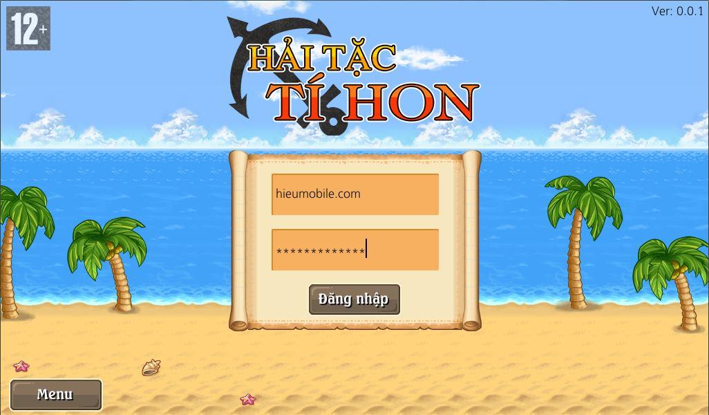 Hải Tặc Tí Hon - Giao diện đăng nhập của game