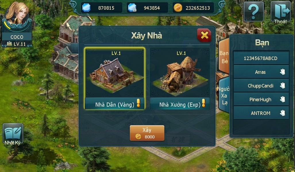 Hệ thống vườn trong game Holy War