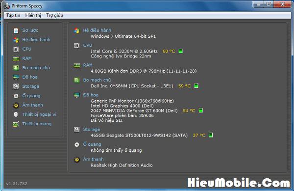 Hình ảnh leYccnW của Tải Speccy: Phần mềm đo nhiệt độ cho các bộ phận của máy tính tại HieuMobile