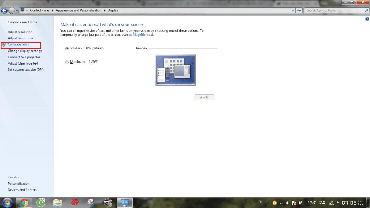 Điều chỉnh độ tương phản tránh chói mắt trên máy tính laptop win 7