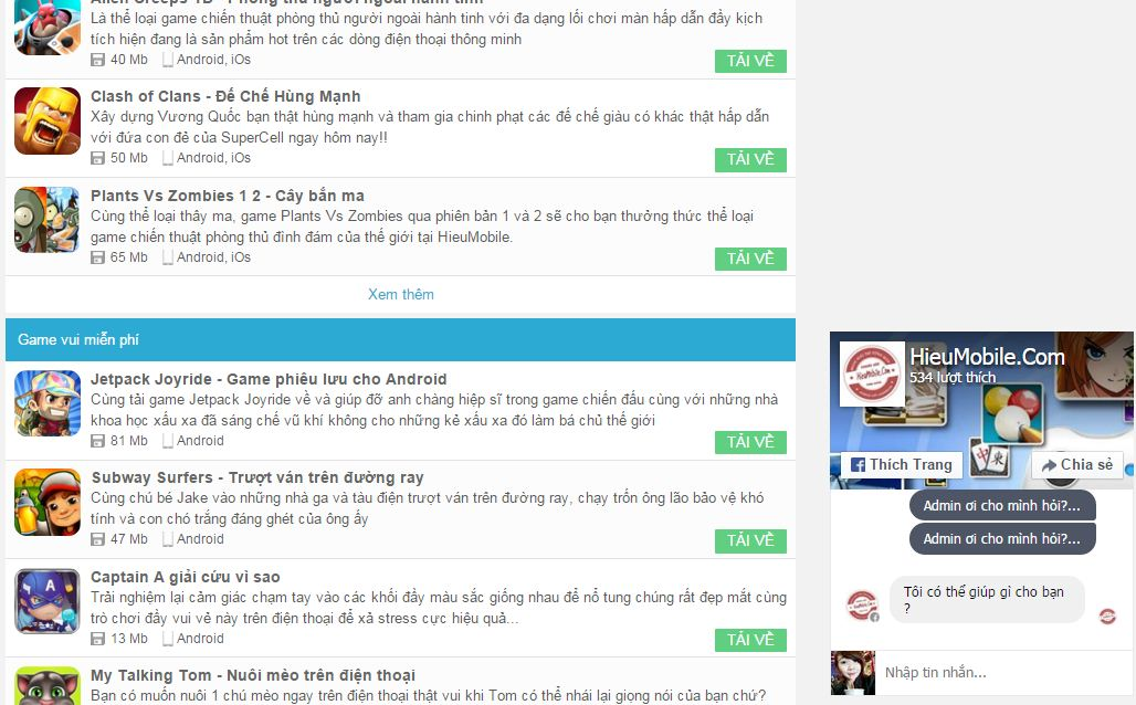 Ảnh mẫu - Live chat Facebook