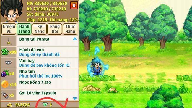 Ngọc xanh có giá trị rất lớn trong game Ngọc Rồng Online